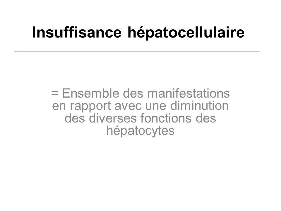 Insuffisance hépatocellulaire = Ensemble des manifestations en rapport avec une diminution des diverses fonctions des hépatocytes