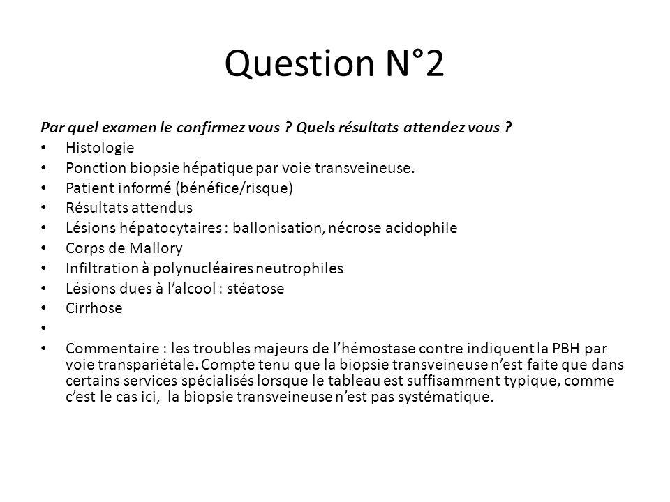 Question N°2 Par quel examen le confirmez vous ? Quels résultats attendez vous ? Histologie Ponction biopsie hépatique par voie transveineuse. Patient