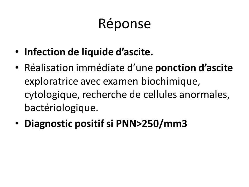 Réponse Infection de liquide dascite. Réalisation immédiate dune ponction dascite exploratrice avec examen biochimique, cytologique, recherche de cell