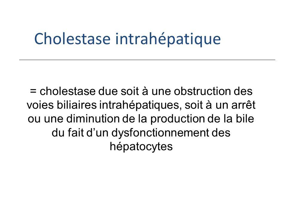 = cholestase due soit à une obstruction des voies biliaires intrahépatiques, soit à un arrêt ou une diminution de la production de la bile du fait dun