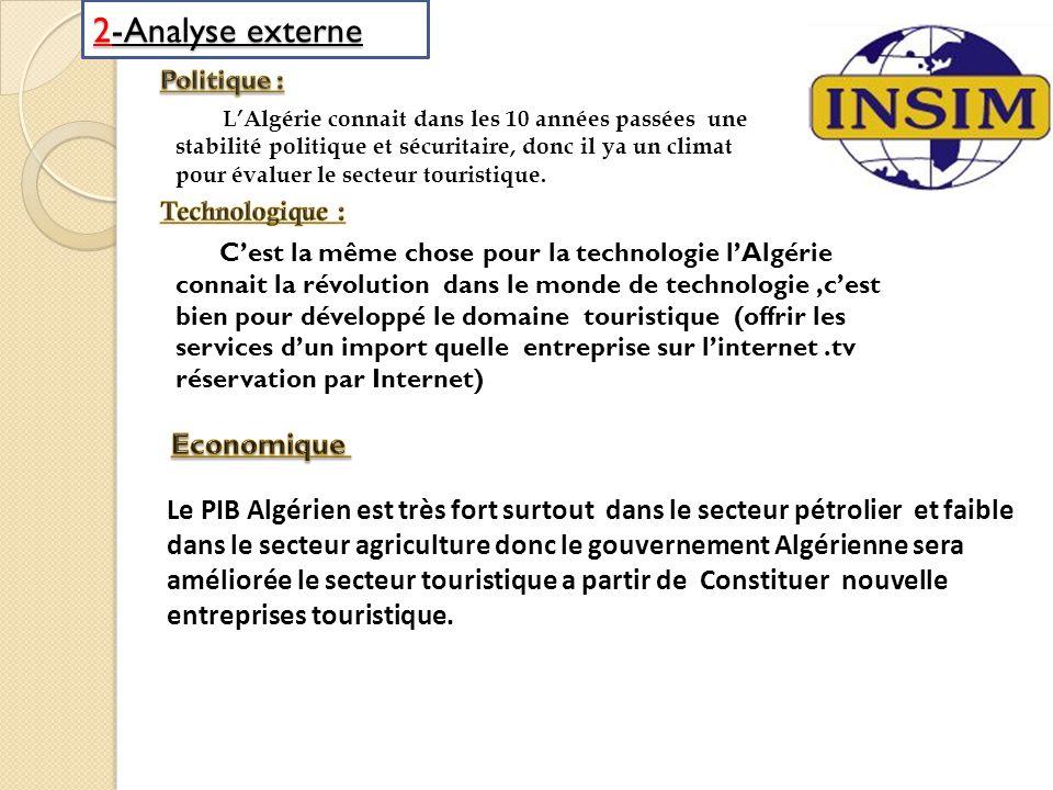 2-Analyse externe LAlgérie connait dans les 10 années passées une stabilité politique et sécuritaire, donc il ya un climat pour évaluer le secteur tou