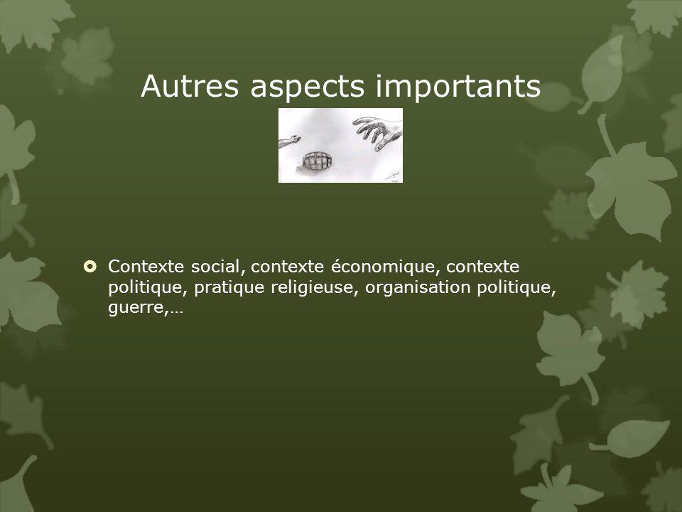 Autres aspects importants Contexte social, contexte économique, contexte politique, pratique religieuse, organisation politique, guerre,…