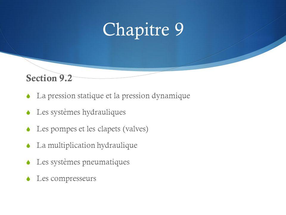 Chapitre 9 Section 9.2 La pression statique et la pression dynamique Les systèmes hydrauliques Les pompes et les clapets (valves) La multiplication hydraulique Les systèmes pneumatiques Les compresseurs