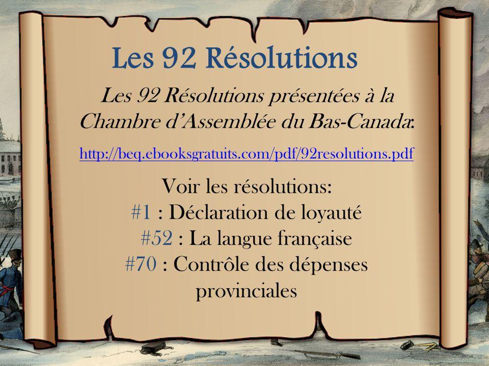 Histoire du Québec: Les rébellions de 1837-38 (9 min.) http://www.youtube.com/wa tch?v=1Pnwl4C1V6I
