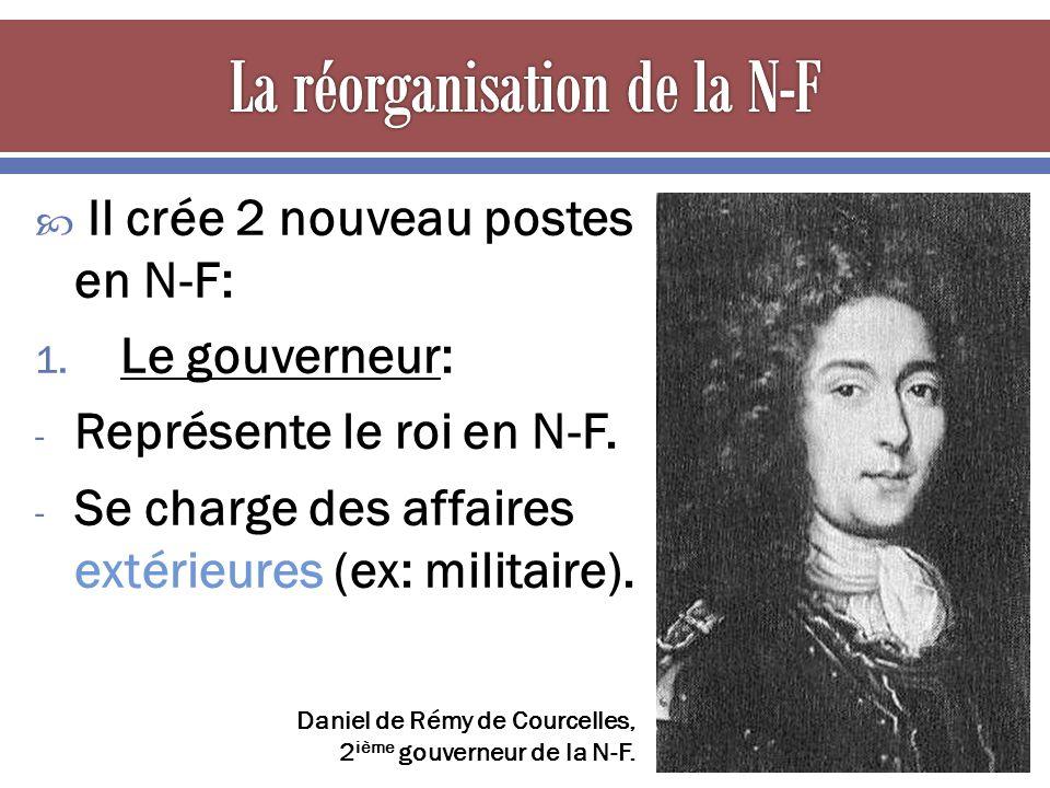 Il crée 2 nouveau postes en N-F: 1. Le gouverneur: - Représente le roi en N-F. - Se charge des affaires extérieures (ex: militaire). Daniel de Rémy de