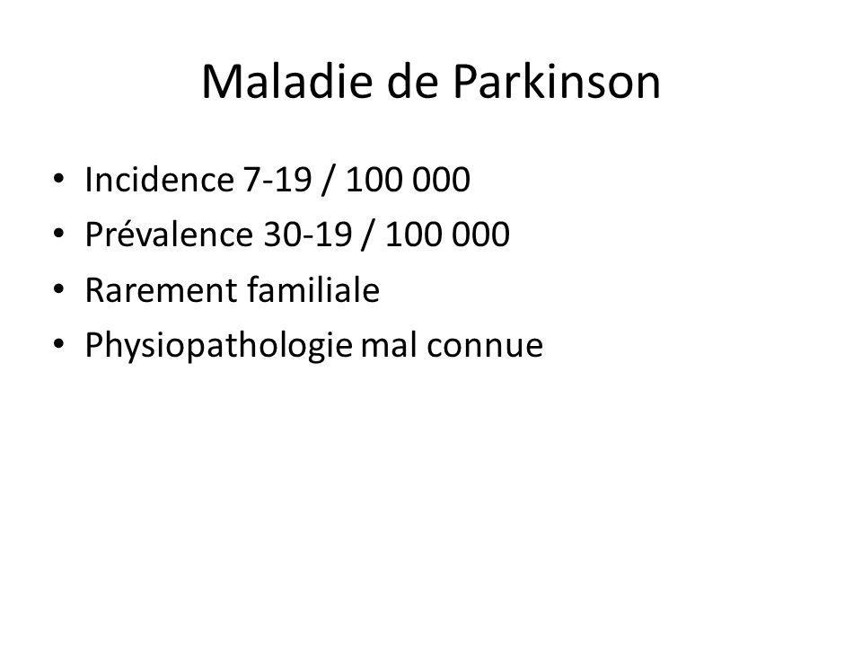 Maladie de Parkinson Incidence 7-19 / 100 000 Prévalence 30-19 / 100 000 Rarement familiale Physiopathologie mal connue