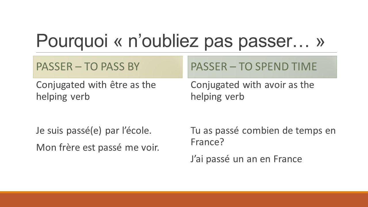 Pourquoi « noubliez pas passer… » PASSER – TO PASS BY Conjugated with être as the helping verb Je suis passé(e) par lécole. Mon frère est passé me voi