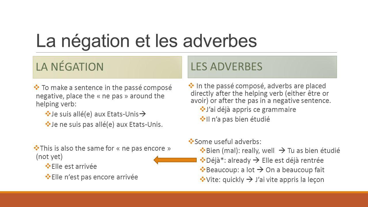 La négation et les adverbes LA NÉGATION To make a sentence in the passé composé negative, place the « ne pas » around the helping verb: Je suis allé(e