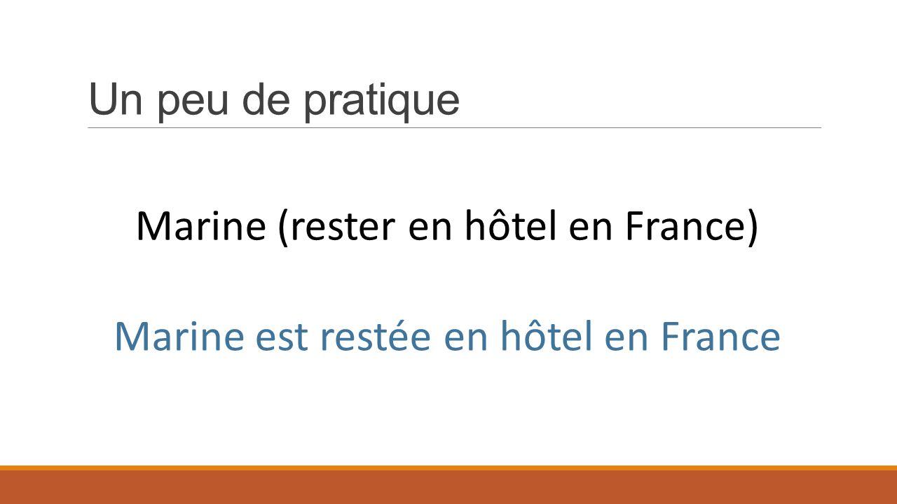 Un peu de pratique Marine (rester en hôtel en France) Marine est restée en hôtel en France