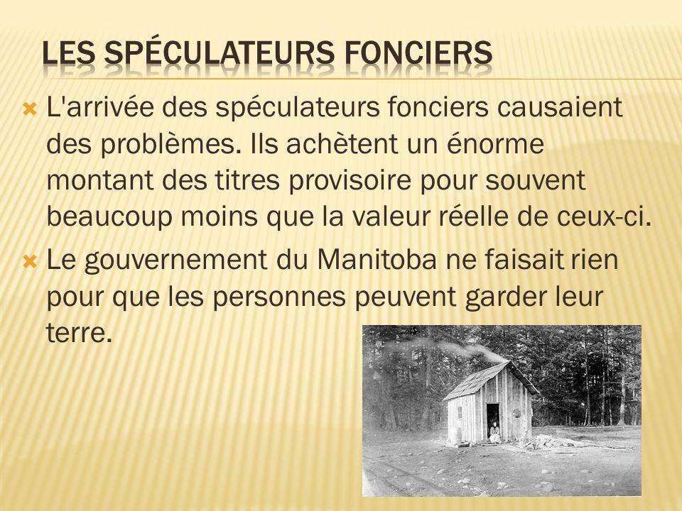 A cause de cela, au début des années 1870, un grand nombre de Métis quittèrent le Manitoba attires par le Nord-Ouest Quelques Métis s établirent près du Fort Edmonton ou Price Albert et d autres s en vas pour le Dakota et le Montana aux États-Unis.