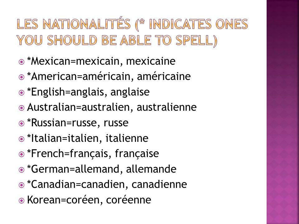 Danish=danois *Belgian=belge *Chinese=chinois Indian=indien Swedish=suédois *Japanese=japonais Irish=irlandais Austrian=autrichien *Spanish=espagnol Portugese=portugais