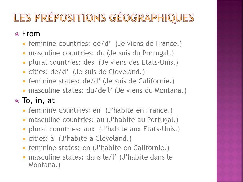 1.) Jean-Paul est de Belgique.2.) Marie vient du Luxembourg.