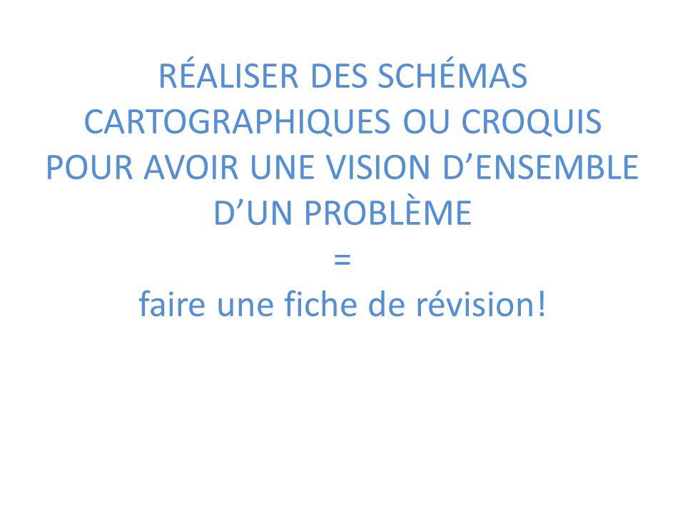 RÉALISER DES SCHÉMAS CARTOGRAPHIQUES OU CROQUIS POUR AVOIR UNE VISION DENSEMBLE DUN PROBLÈME = faire une fiche de révision!