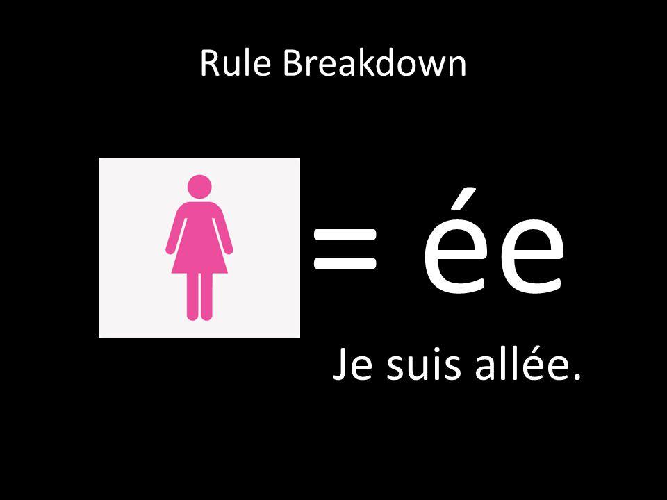 Rule Breakdown = ée Je suis allée.