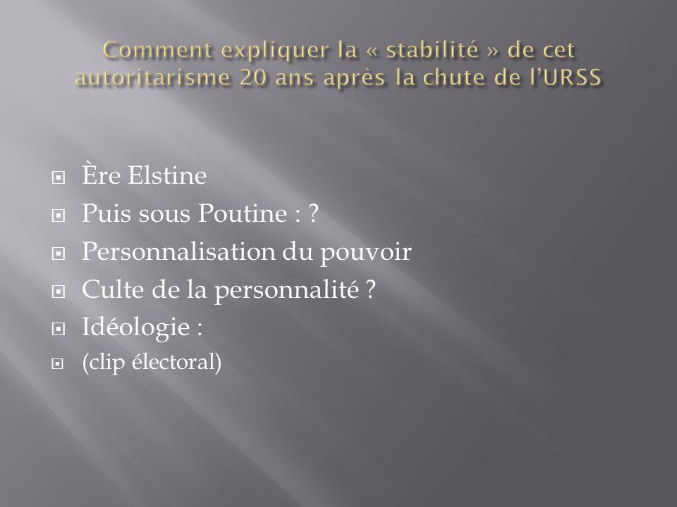 Ère Elstine Puis sous Poutine : ? Personnalisation du pouvoir Culte de la personnalité ? Idéologie : (clip électoral)