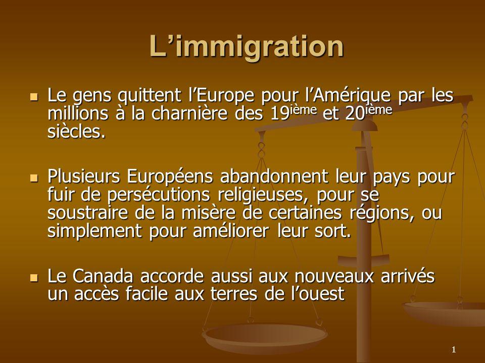 1 Limmigration Limmigration Le gens quittent lEurope pour lAmérique par les millions à la charnière des 19 ième et 20 ième siècles.