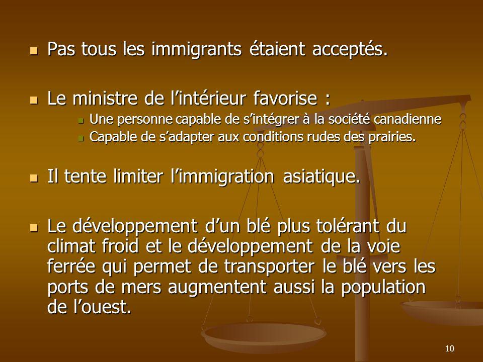 10 Pas tous les immigrants étaient acceptés. Pas tous les immigrants étaient acceptés.