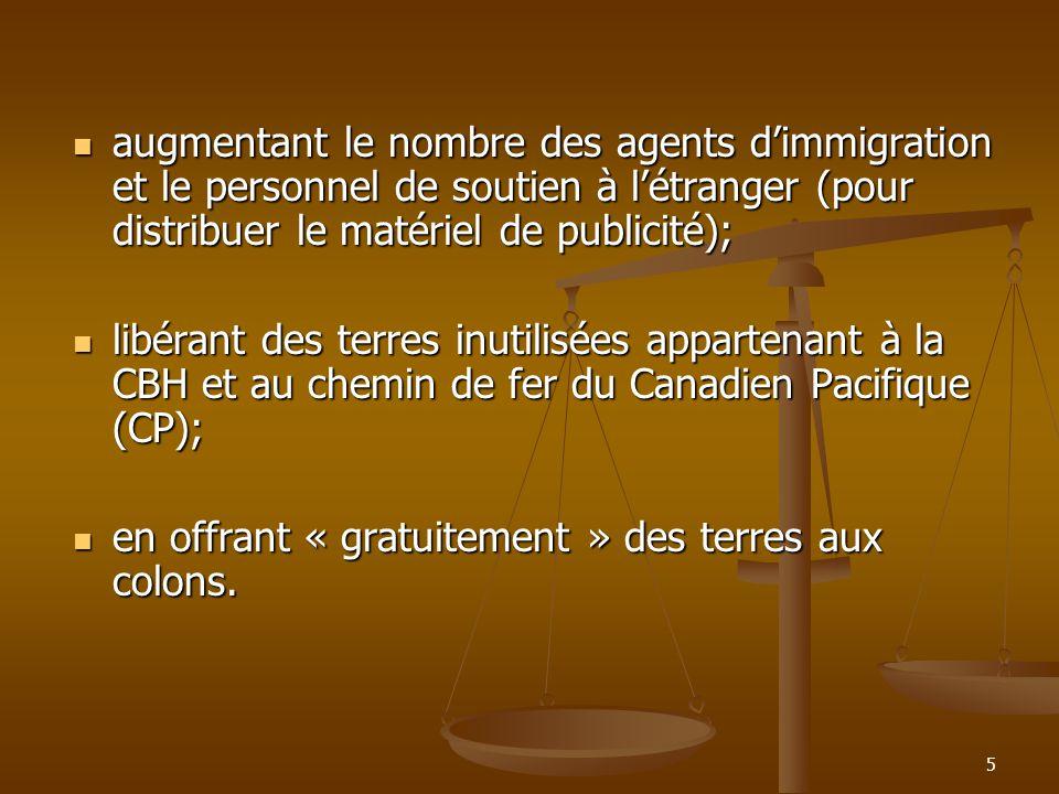 5 augmentant le nombre des agents dimmigration et le personnel de soutien à létranger (pour distribuer le matériel de publicité); augmentant le nombre des agents dimmigration et le personnel de soutien à létranger (pour distribuer le matériel de publicité); libérant des terres inutilisées appartenant à la CBH et au chemin de fer du Canadien Pacifique (CP); libérant des terres inutilisées appartenant à la CBH et au chemin de fer du Canadien Pacifique (CP); en offrant « gratuitement » des terres aux colons.