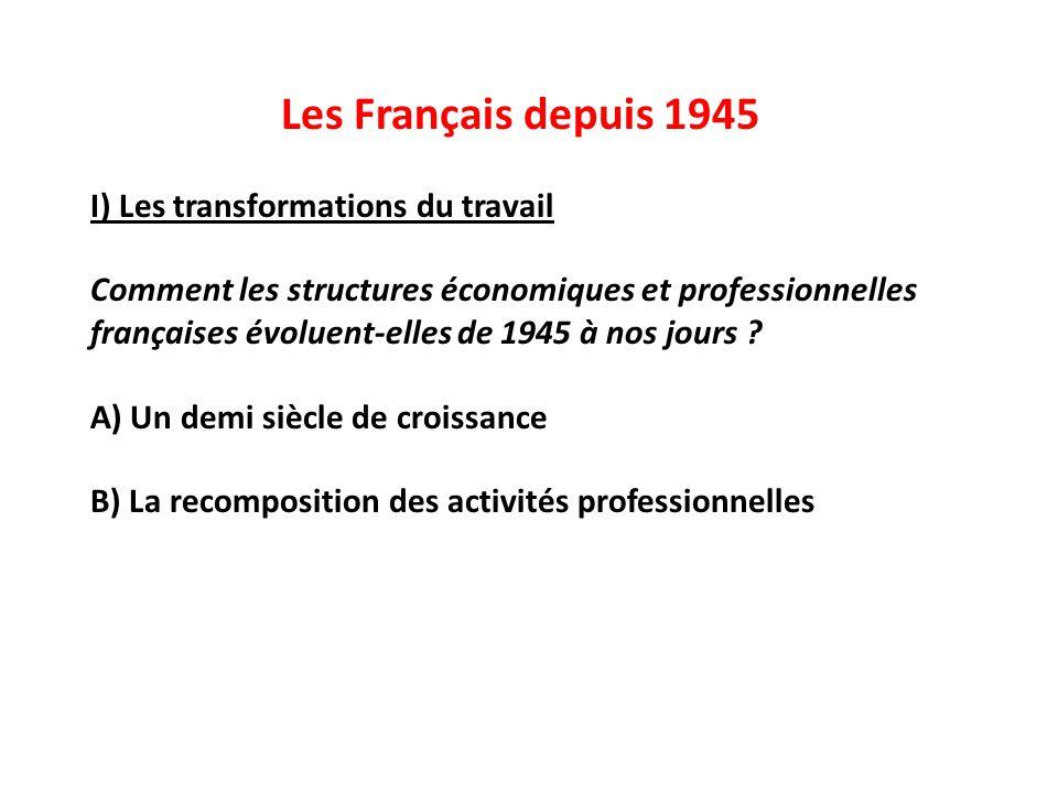 Les Français depuis 1945 I) Les transformations du travail Comment les structures économiques et professionnelles françaises évoluent-elles de 1945 à