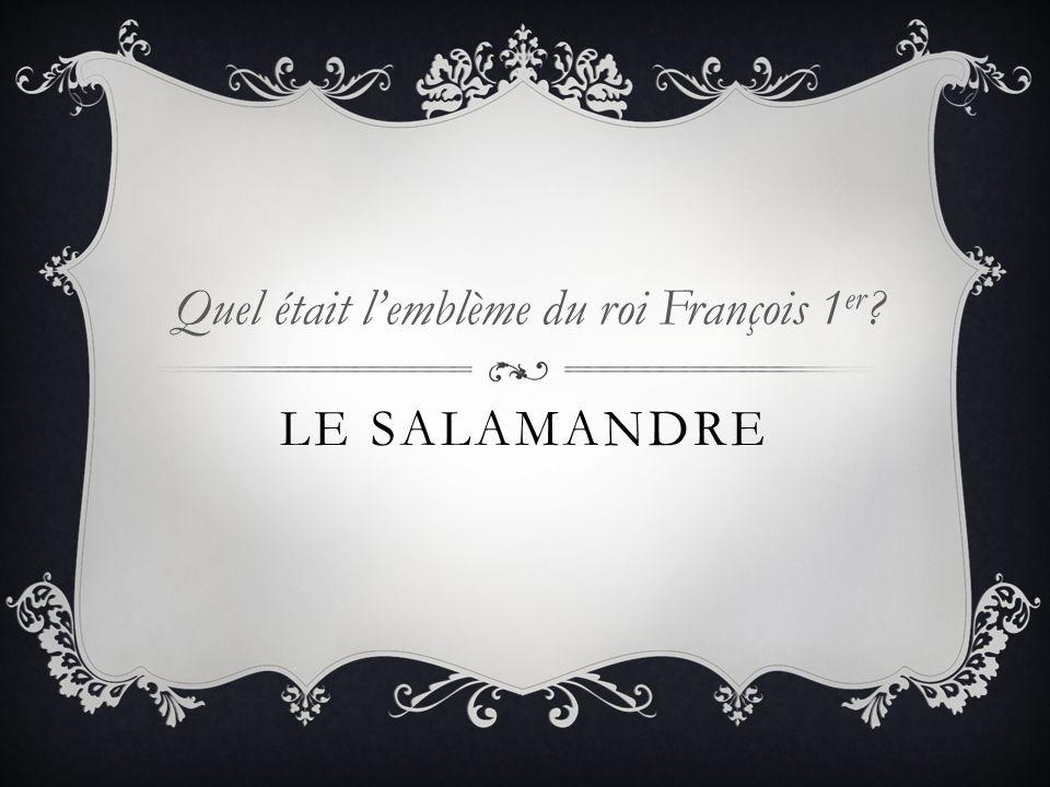 LE SALAMANDRE Quel était lemblème du roi François 1 er ?