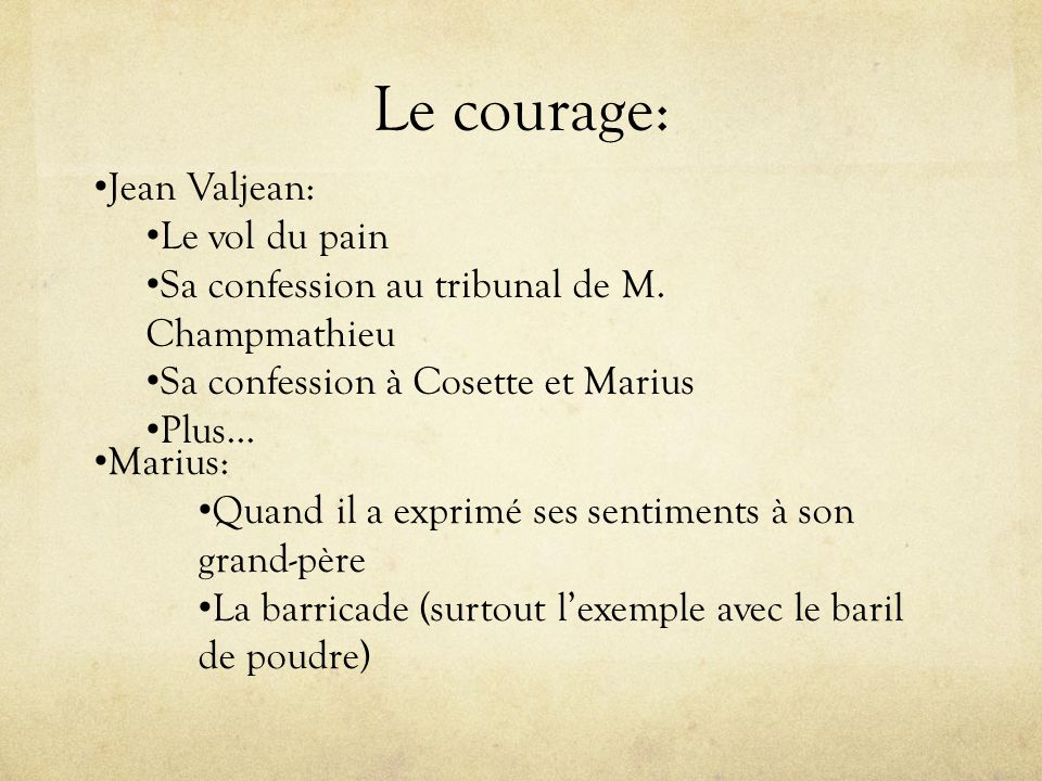 Le courage: Jean Valjean: Le vol du pain Sa confession au tribunal de M. Champmathieu Sa confession à Cosette et Marius Plus… Marius: Quand il a expri