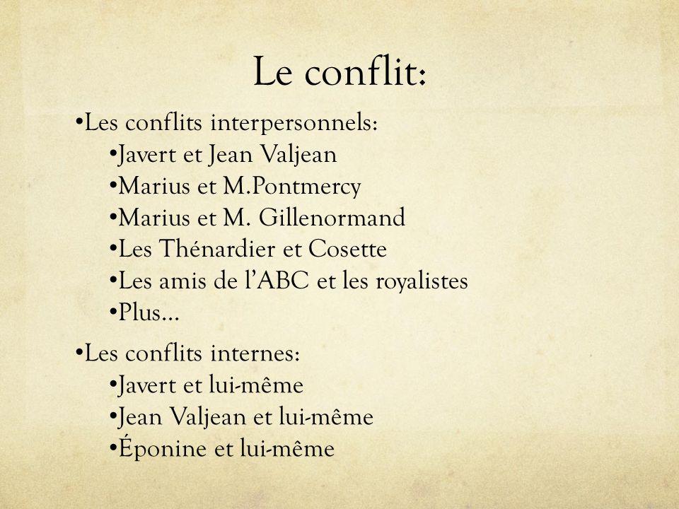Le conflit: Les conflits interpersonnels: Javert et Jean Valjean Marius et M.Pontmercy Marius et M. Gillenormand Les Thénardier et Cosette Les amis de