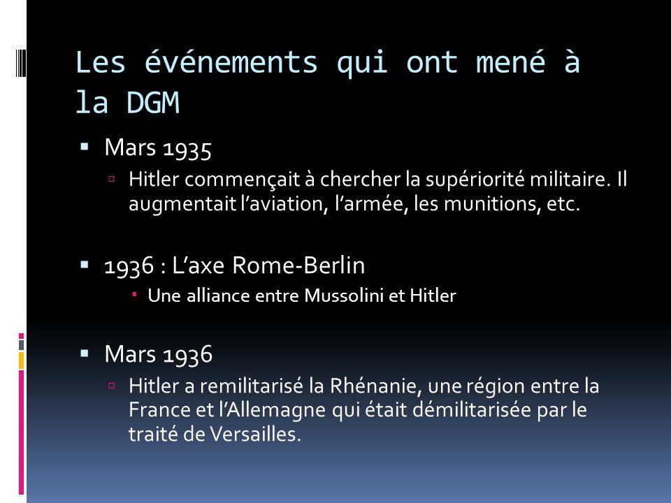 Les événements qui ont mené à la DGM Mars 1935 Hitler commençait à chercher la supériorité militaire. Il augmentait laviation, larmée, les munitions,