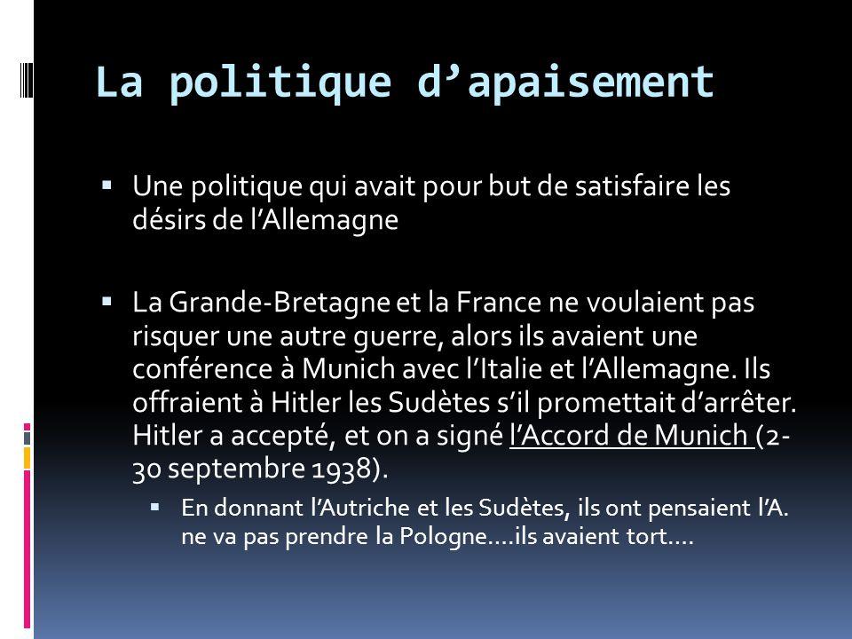 La politique dapaisement Une politique qui avait pour but de satisfaire les désirs de lAllemagne La Grande-Bretagne et la France ne voulaient pas risq