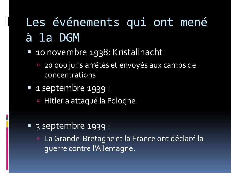 Les événements qui ont mené à la DGM 10 novembre 1938: Kristallnacht 20 000 juifs arrêtés et envoyés aux camps de concentrations 1 septembre 1939 : Hi