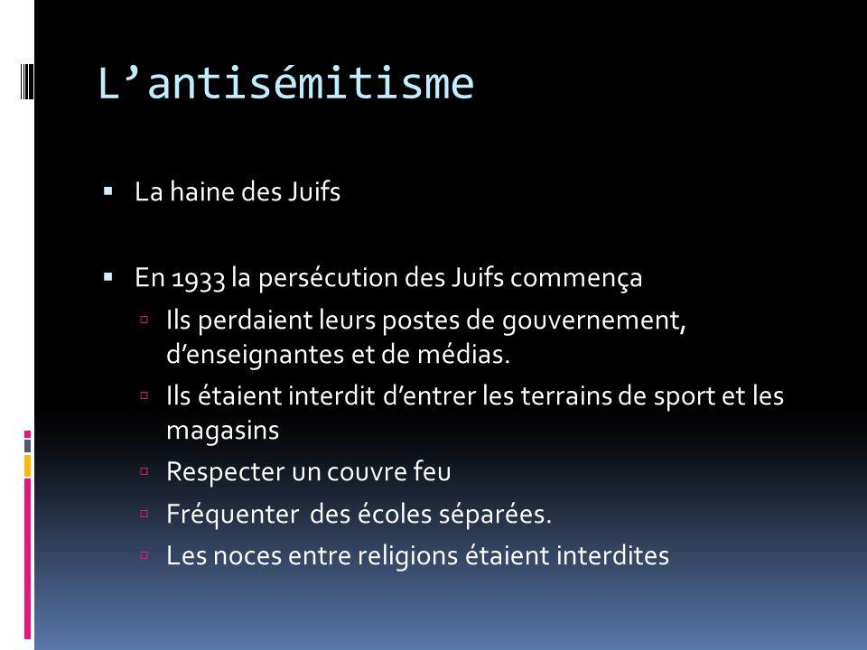 Lantisémitisme La haine des Juifs En 1933 la persécution des Juifs commença Ils perdaient leurs postes de gouvernement, denseignantes et de médias. Il