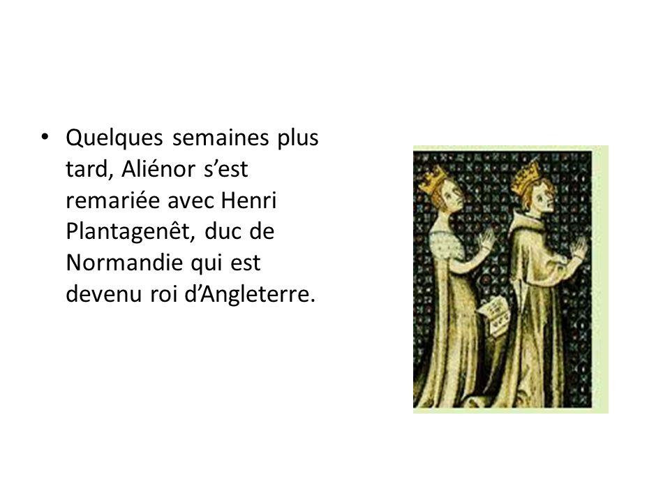 Ils avaient deux fils, Richard Cœur de Lion et Jean sans Terre qui sont devenus rois dAngleterre.
