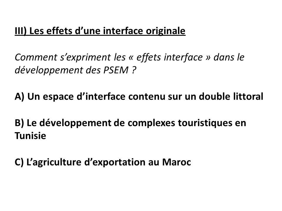 III) Les effets dune interface originale Comment sexpriment les « effets interface » dans le développement des PSEM .