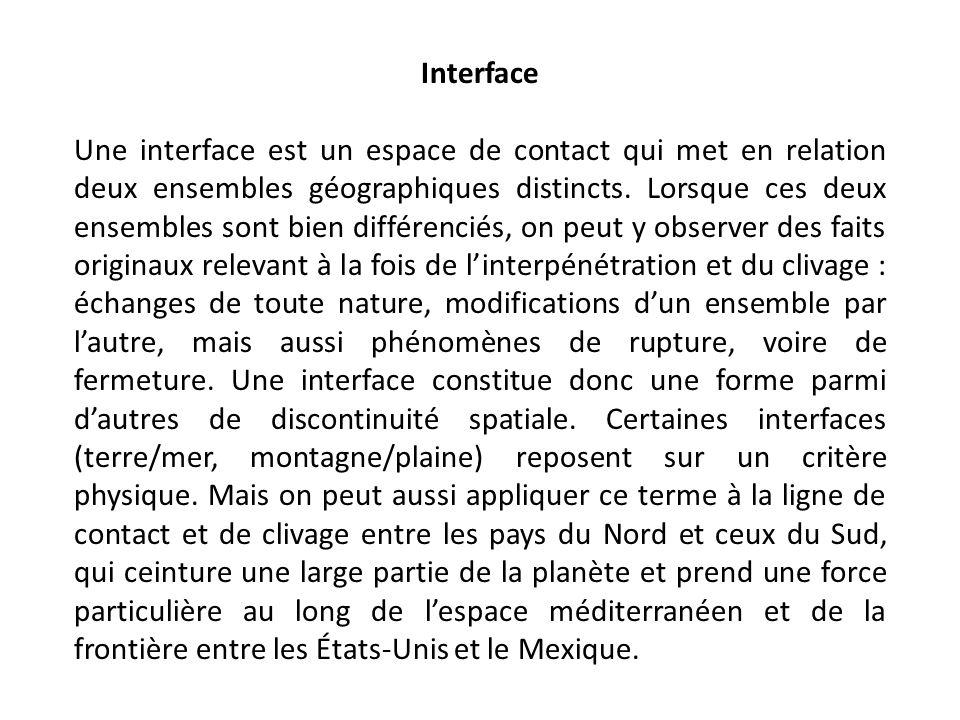 Interface Une interface est un espace de contact qui met en relation deux ensembles géographiques distincts.