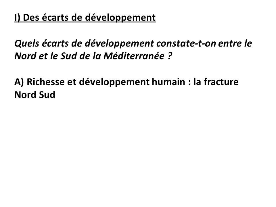 I) Des écarts de développement Quels écarts de développement constate-t-on entre le Nord et le Sud de la Méditerranée .