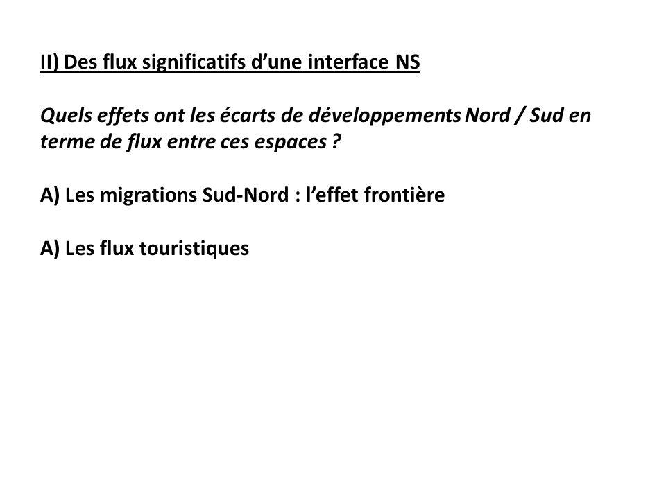II) Des flux significatifs dune interface NS Quels effets ont les écarts de développements Nord / Sud en terme de flux entre ces espaces .