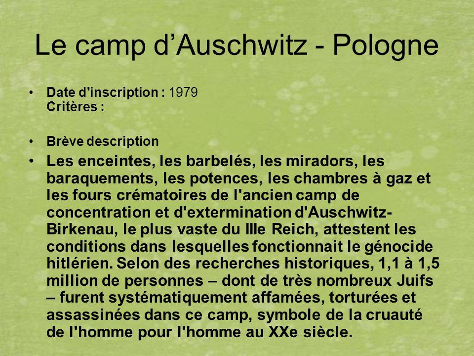 Le camp dAuschwitz - Pologne Date d'inscription : 1979 Critères : Brève description Les enceintes, les barbelés, les miradors, les baraquements, les p
