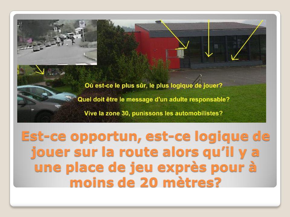 Est-ce opportun, est-ce logique de jouer sur la route alors quil y a une place de jeu exprès pour à moins de 20 mètres