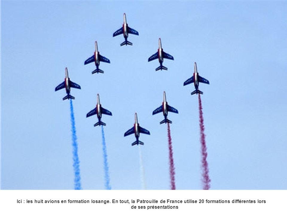 Ici : les huit avions en formation losange. En tout, la Patrouille de France utilise 20 formations différentes lors de ses présentations