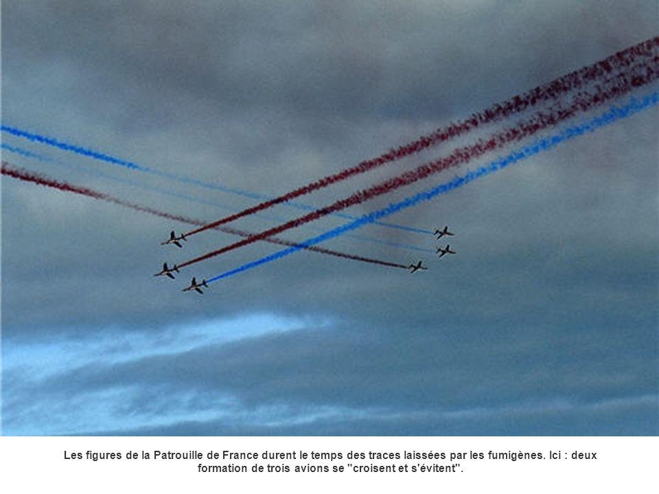 Les figures de la Patrouille de France durent le temps des traces laissées par les fumigènes. Ici : deux formation de trois avions se