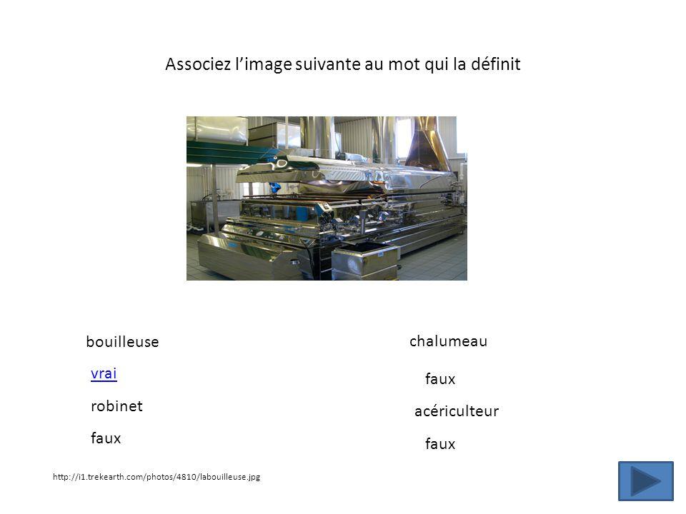 Associez limage suivante au mot qui la définit http://i1.trekearth.com/photos/4810/labouilleuse.jpg bouilleuse robinet chalumeau acériculteur vrai fau