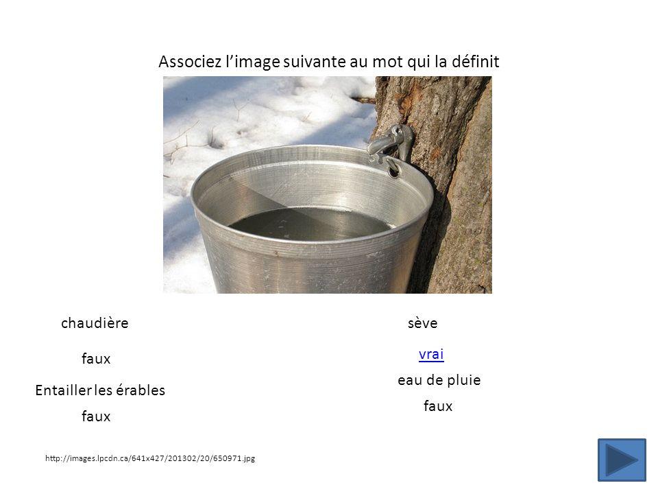 Associez limage suivante au mot qui la définit http://images.lpcdn.ca/641x427/201302/20/650971.jpg chaudière Entailler les érables sève eau de pluie f