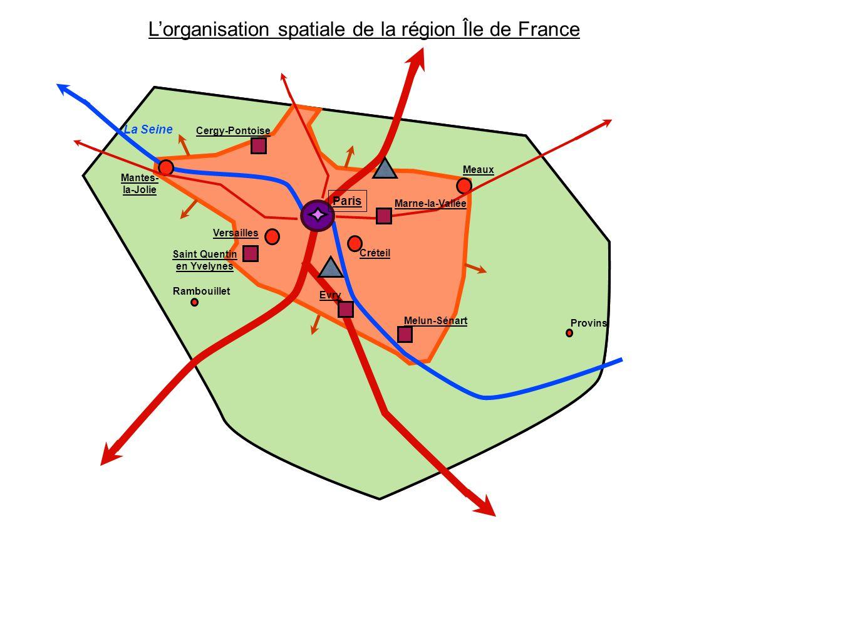 Créteil Meaux Cergy-Pontoise Versailles Melun-Sénart Rambouillet Mantes- la-Jolie Provins Saint Quentin en Yvelynes Lorganisation spatiale de la régio