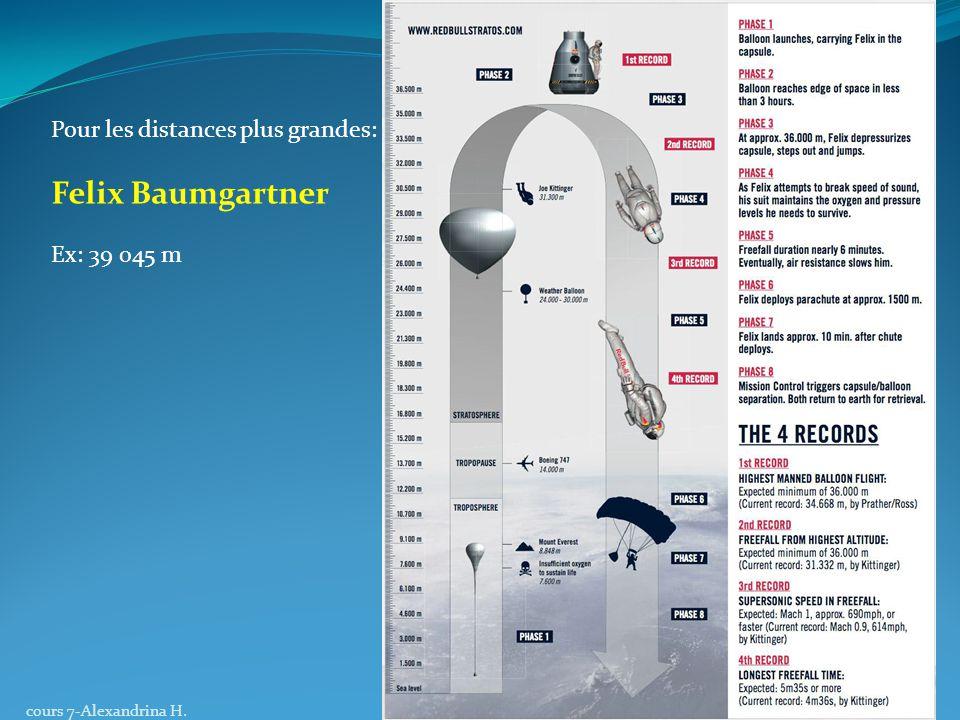 Pour les distances plus grandes: Felix Baumgartner Ex: 39 045 m