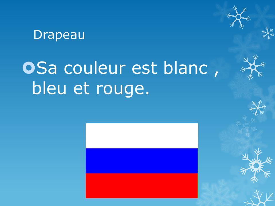 Drapeau Sa couleur est blanc, bleu et rouge.