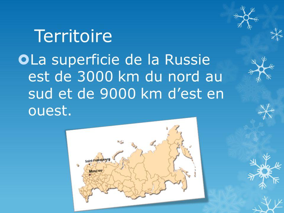 Territoire La superficie de la Russie est de 3000 km du nord au sud et de 9000 km dest en ouest.