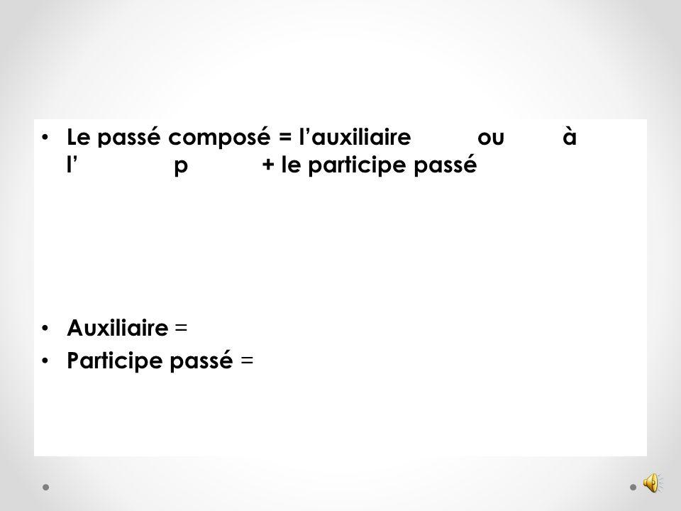 Passé composé Auxiliaire Participe passé (hulpwerkwoord) (voltooid deelwoord) Être Avoir Il a préparéHij heeft klaargemaakt Il est alléHij is gegaan