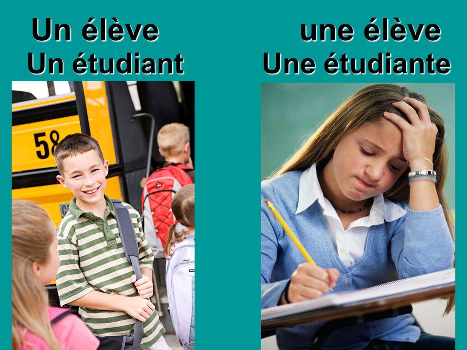 Un étudiant Une étudiante Un élève une élève Un élève une élève