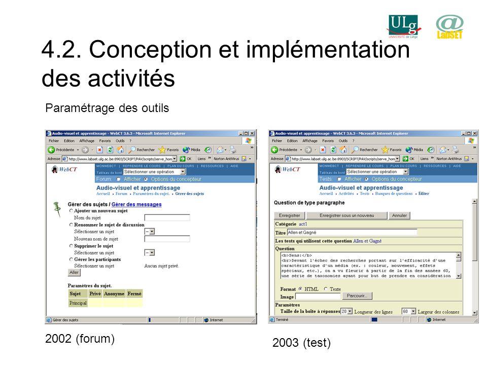 4.2. Conception et implémentation des activités Paramétrage des outils 2002 (forum) 2003 (test)