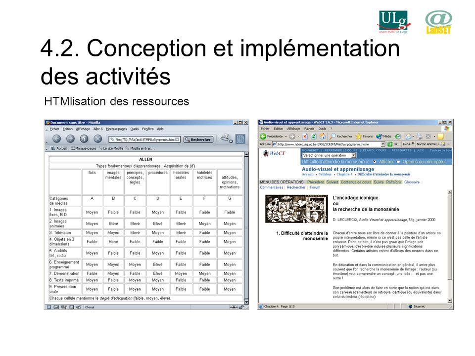 4.2. Conception et implémentation des activités HTMlisation des ressources