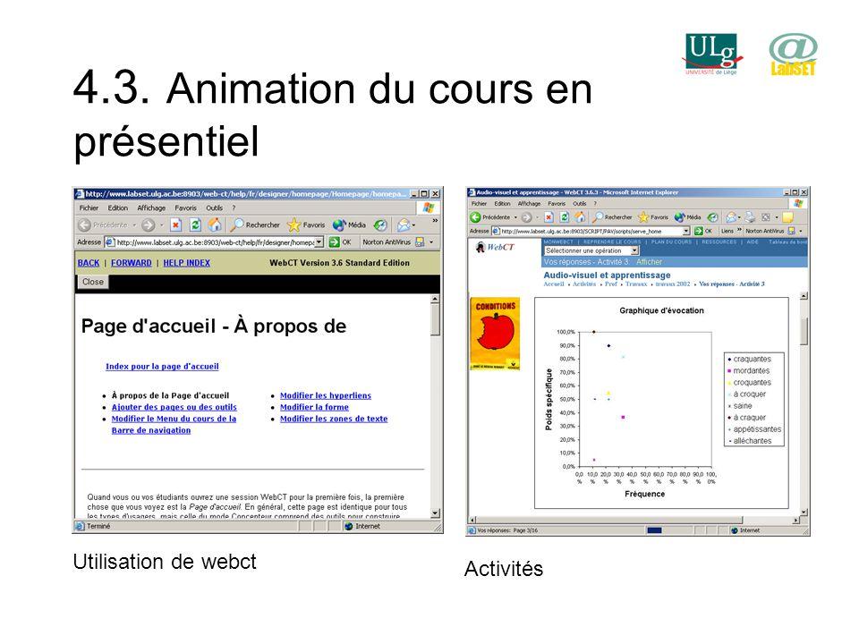 4.3. Animation du cours en présentiel Utilisation de webct Activités